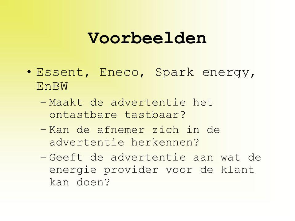 Voorbeelden Essent, Eneco, Spark energy, EnBW