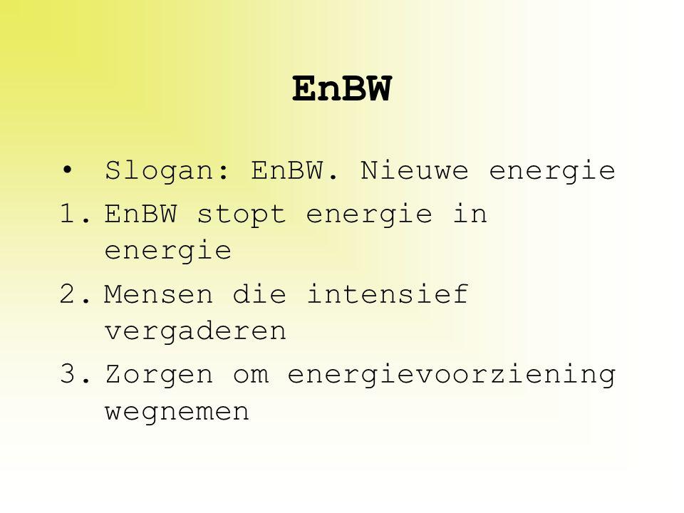 EnBW Slogan: EnBW. Nieuwe energie EnBW stopt energie in energie