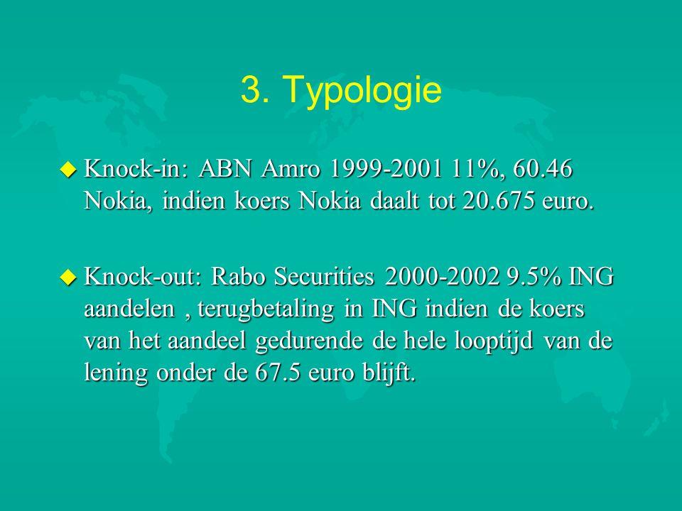 3. Typologie Knock-in: ABN Amro 1999-2001 11%, 60.46 Nokia, indien koers Nokia daalt tot 20.675 euro.