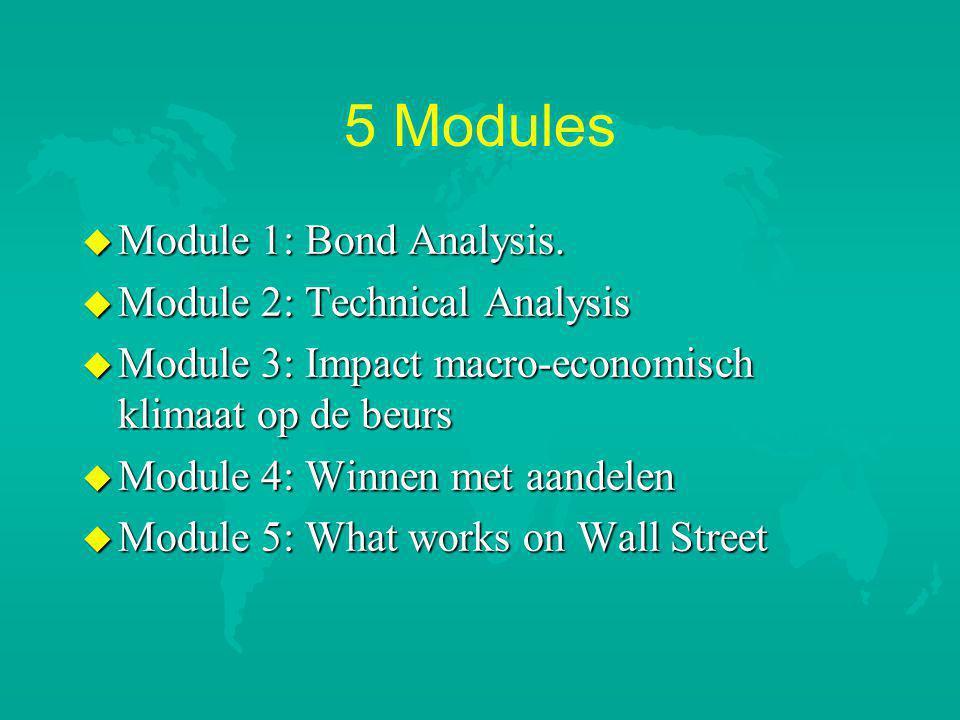 5 Modules Module 1: Bond Analysis. Module 2: Technical Analysis