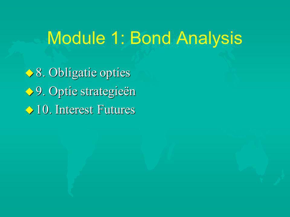 Module 1: Bond Analysis 8. Obligatie opties 9. Optie strategieën