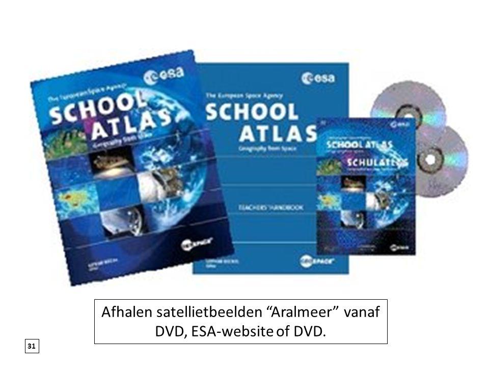 Afhalen satellietbeelden Aralmeer vanaf DVD, ESA-website of DVD.
