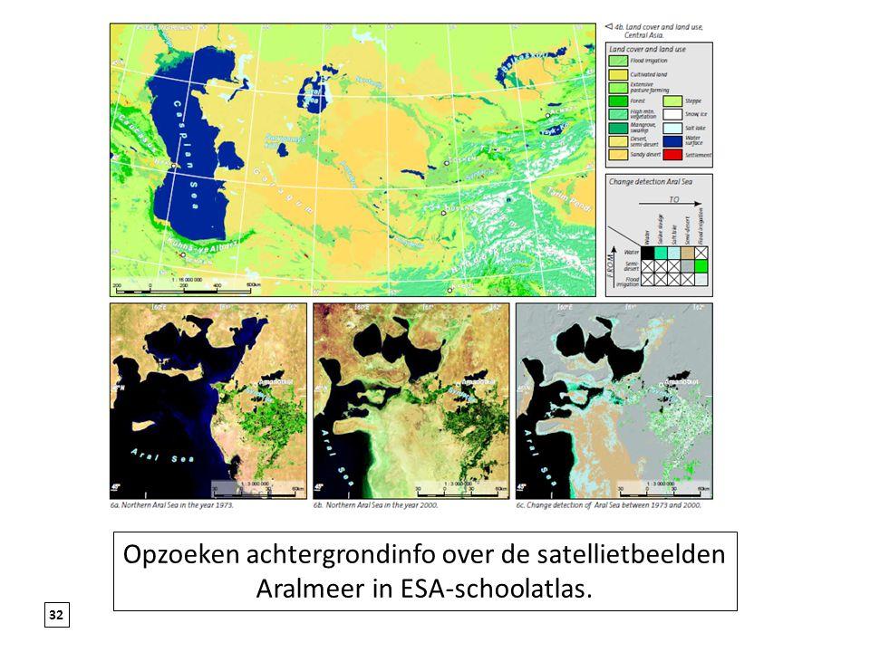 Opzoeken achtergrondinfo over de satellietbeelden Aralmeer in ESA-schoolatlas.