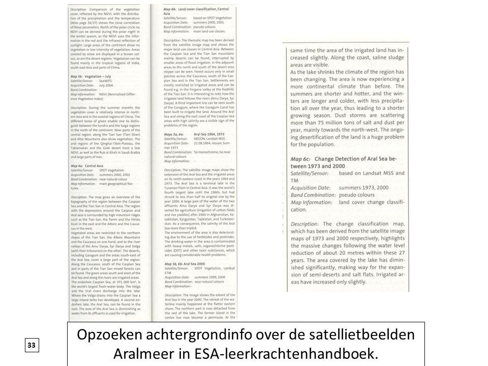 Opzoeken achtergrondinfo over de satellietbeelden Aralmeer in ESA-leerkrachtenhandboek.