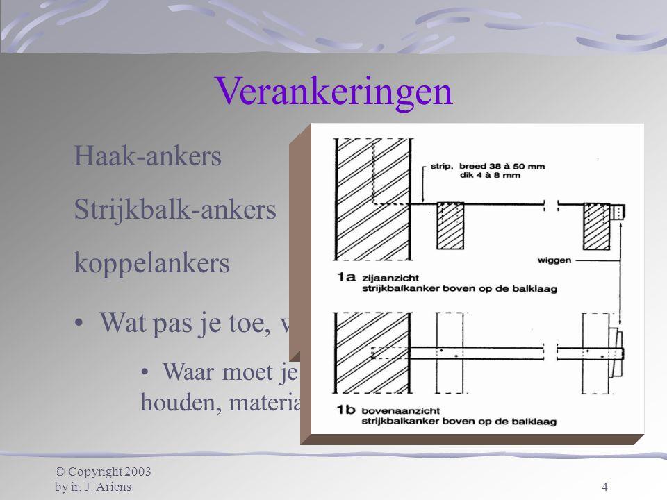 Verankeringen Haak-ankers * Strijkbalk-ankers * koppelankers