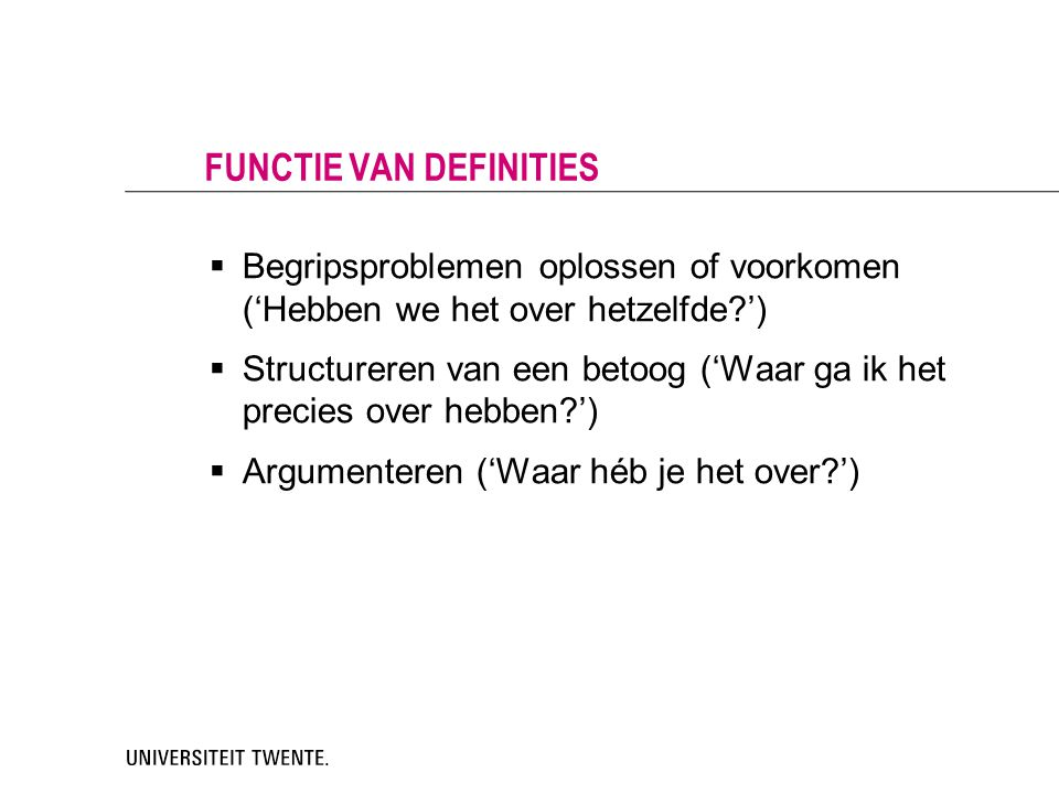 Functie van definities