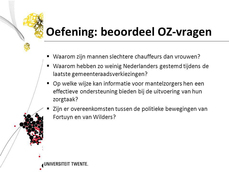 Oefening: beoordeel OZ-vragen