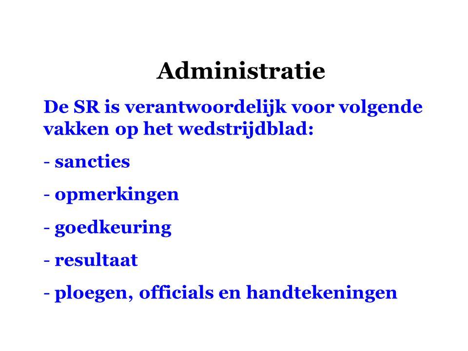 Administratie De SR is verantwoordelijk voor volgende vakken op het wedstrijdblad: sancties. opmerkingen.