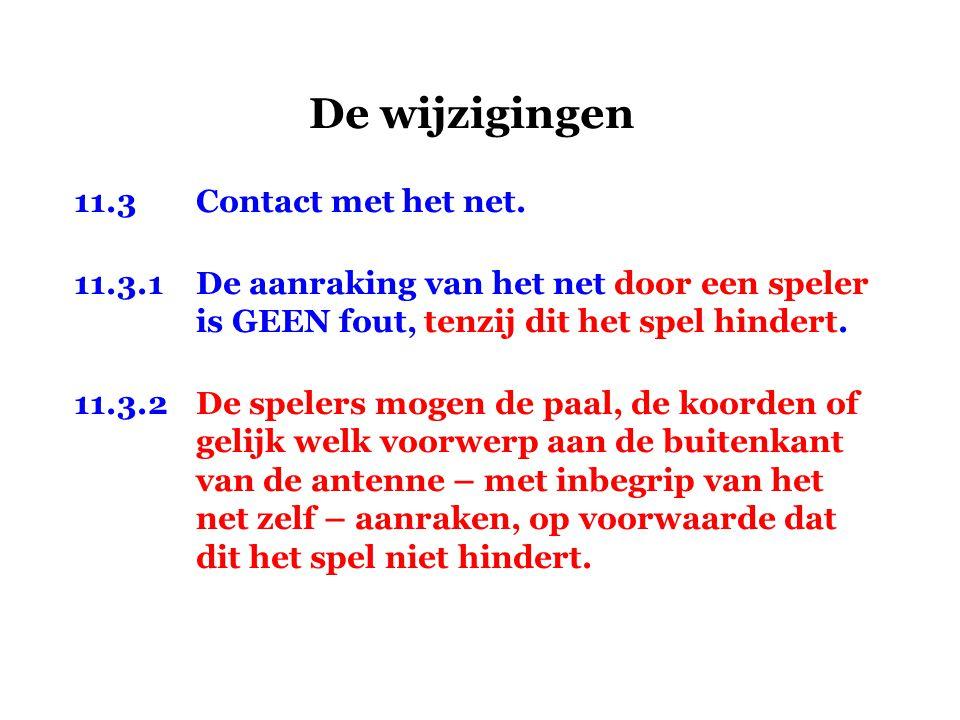 De wijzigingen 11.3 Contact met het net.
