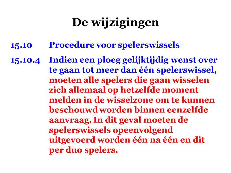 De wijzigingen 15.10 Procedure voor spelerswissels