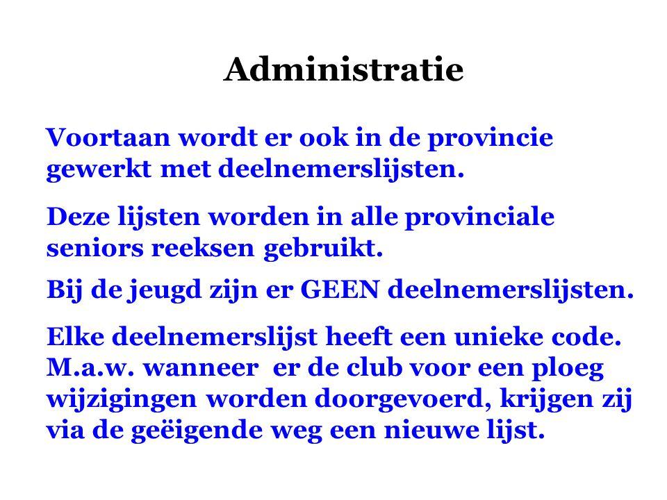 Administratie Voortaan wordt er ook in de provincie gewerkt met deelnemerslijsten. Deze lijsten worden in alle provinciale seniors reeksen gebruikt.