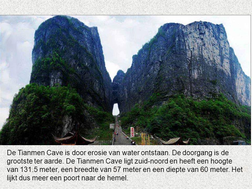 De Tianmen Cave is door erosie van water ontstaan