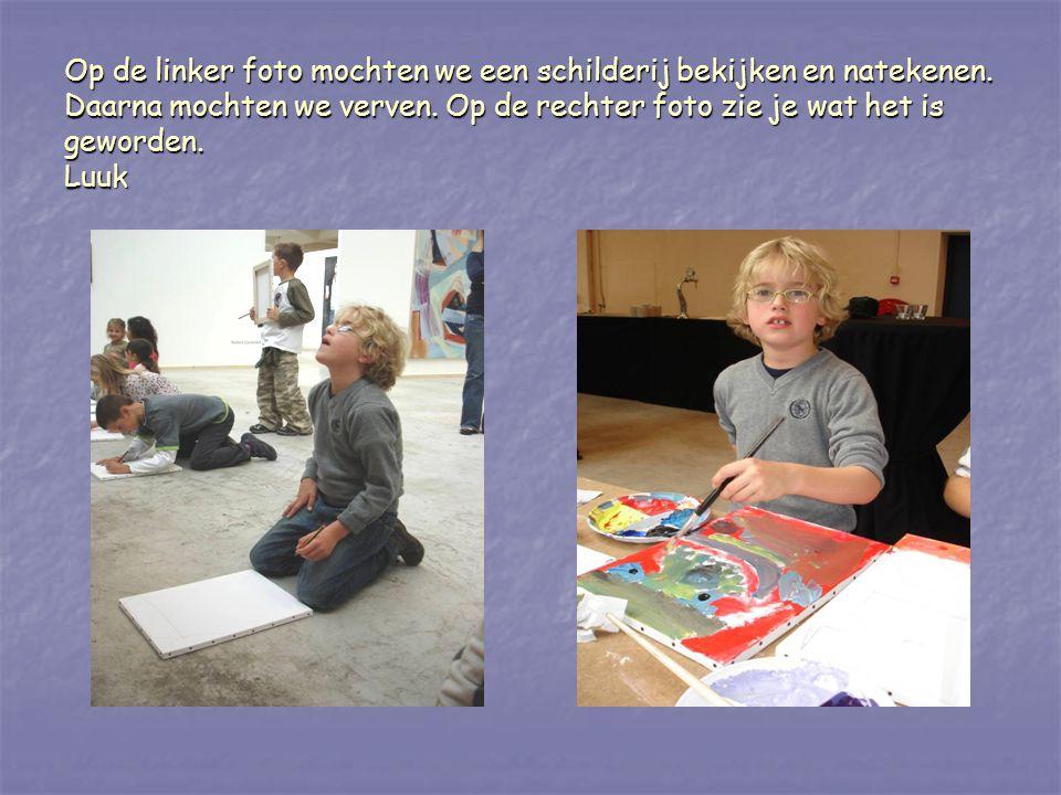 Op de linker foto mochten we een schilderij bekijken en natekenen