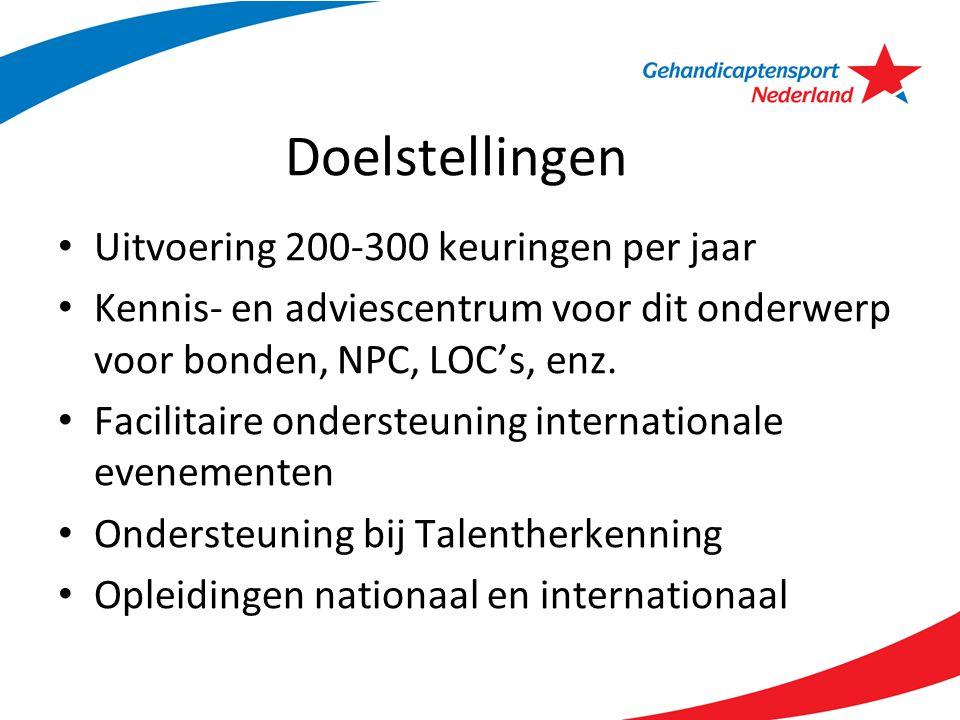 Doelstellingen Uitvoering 200-300 keuringen per jaar