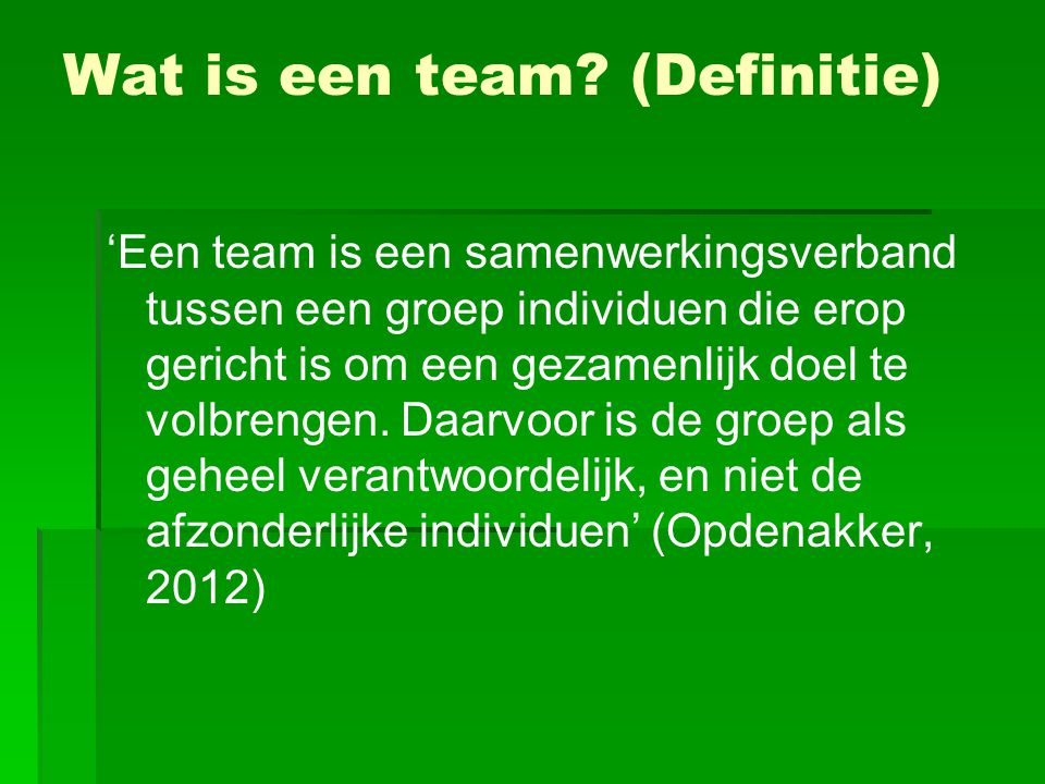 Wat is een team (Definitie)