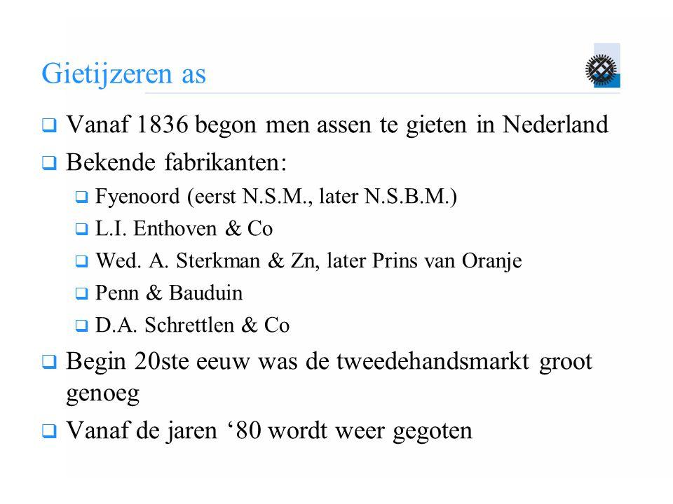 Gietijzeren as Vanaf 1836 begon men assen te gieten in Nederland