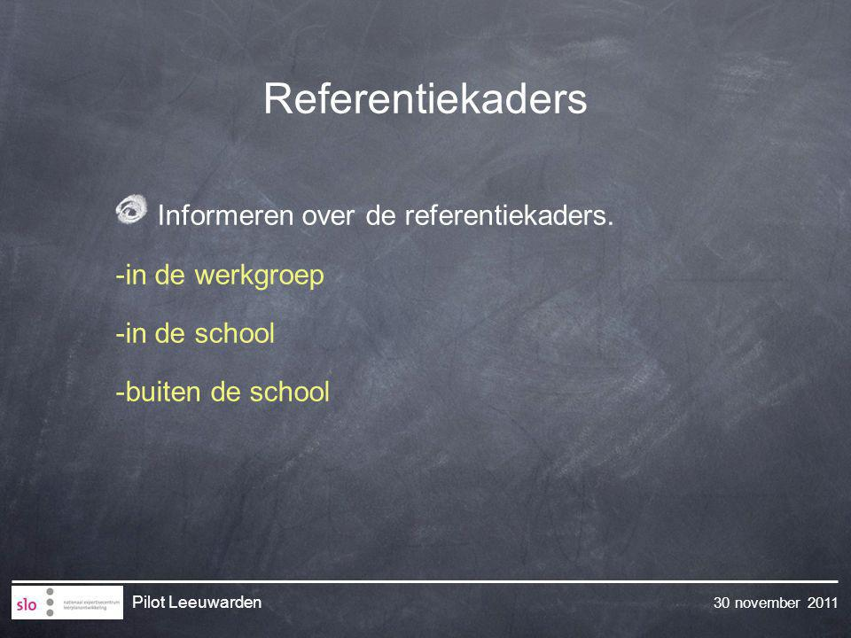 Referentiekaders Informeren over de referentiekaders. -in de werkgroep