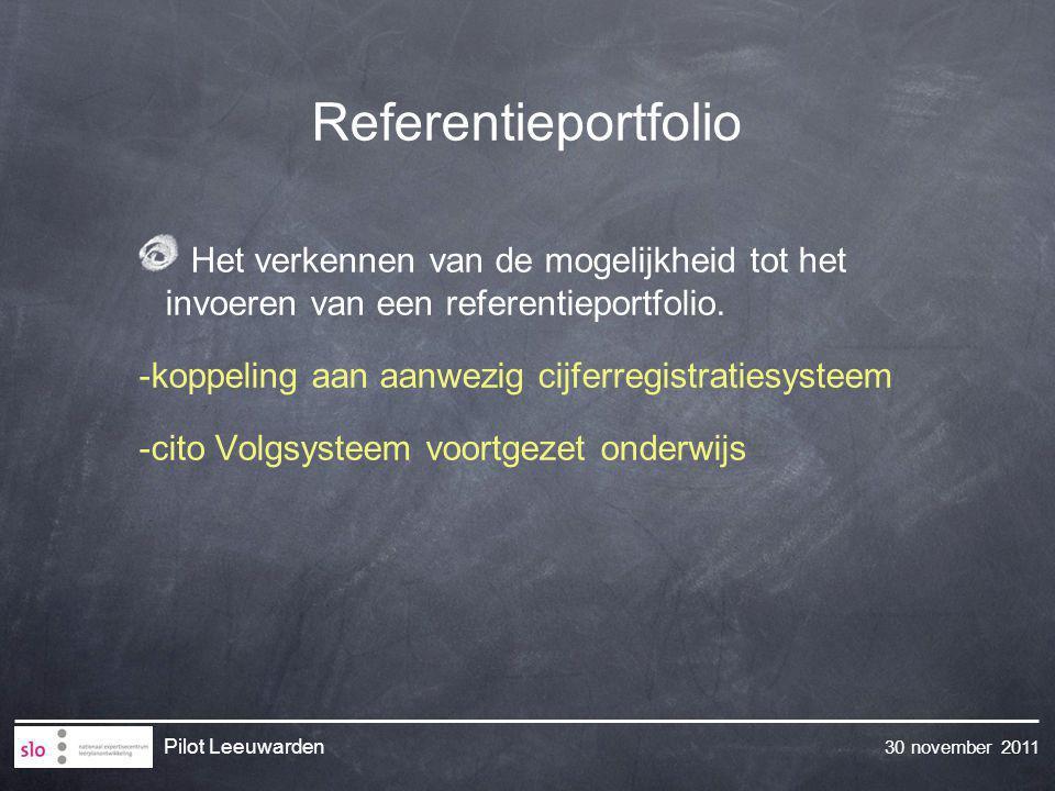 Referentieportfolio Het verkennen van de mogelijkheid tot het invoeren van een referentieportfolio.
