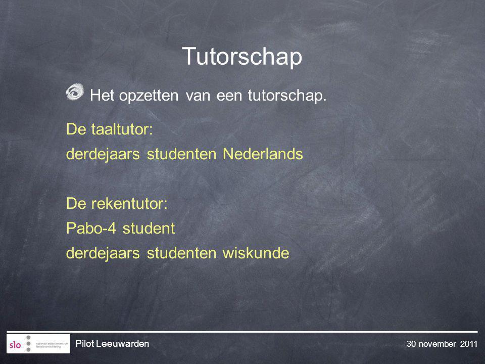 Tutorschap Het opzetten van een tutorschap. De taaltutor: