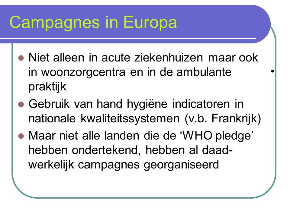 Campagnes in Europa Niet alleen in acute ziekenhuizen maar ook in woonzorgcentra en in de ambulante praktijk.