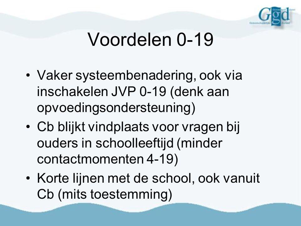 Voordelen 0-19 Vaker systeembenadering, ook via inschakelen JVP 0-19 (denk aan opvoedingsondersteuning)