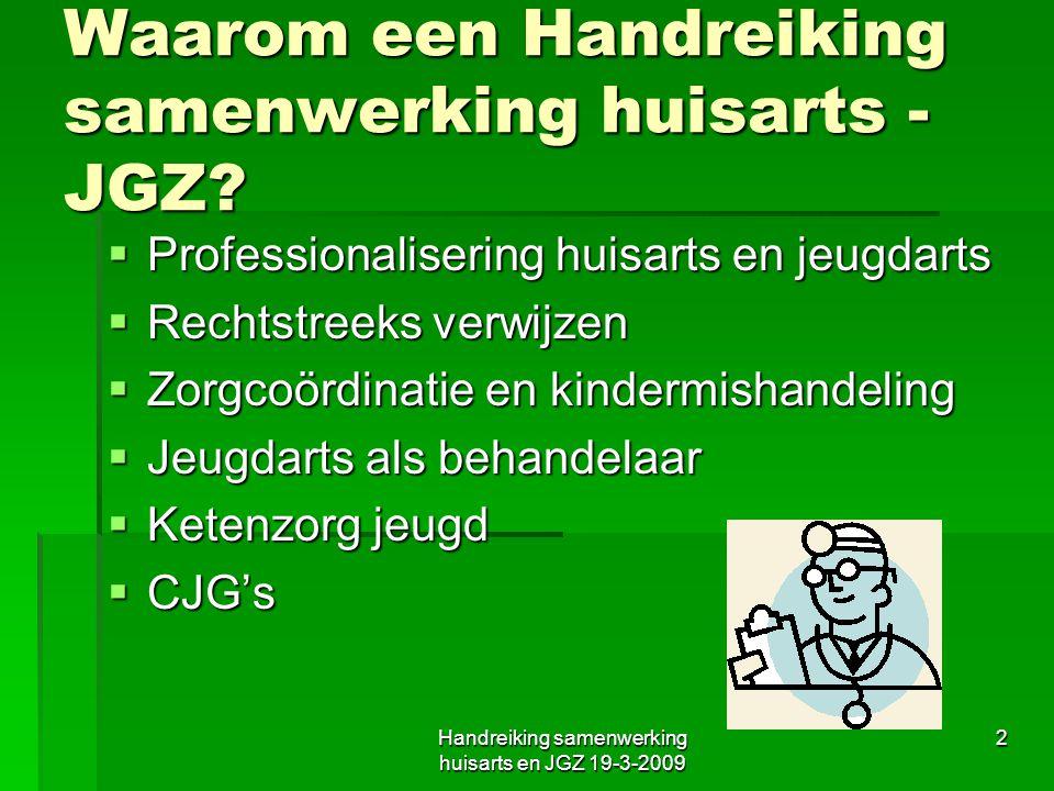 Waarom een Handreiking samenwerking huisarts - JGZ