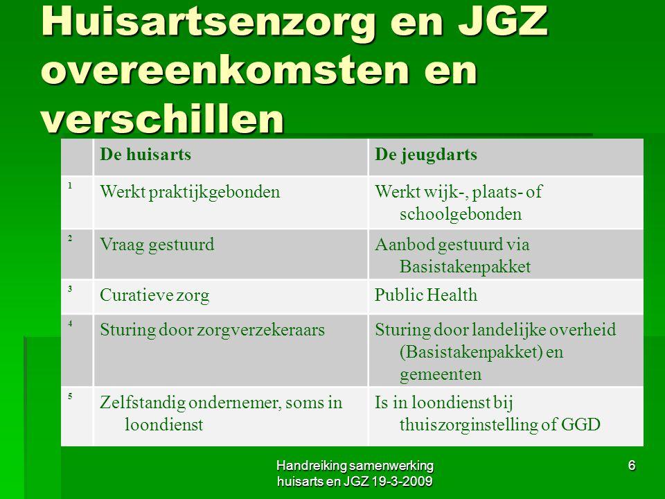 Huisartsenzorg en JGZ overeenkomsten en verschillen