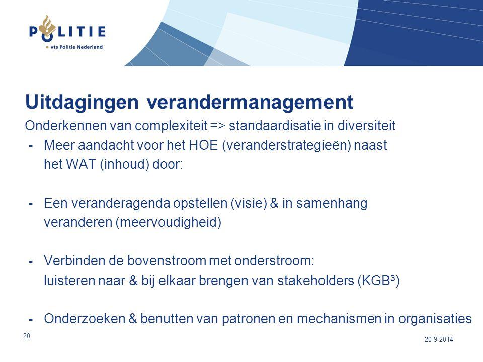 Uitdagingen verandermanagement Onderkennen van complexiteit => standaardisatie in diversiteit - Meer aandacht voor het HOE (veranderstrategieën) naast het WAT (inhoud) door: - Een veranderagenda opstellen (visie) & in samenhang veranderen (meervoudigheid) - Verbinden de bovenstroom met onderstroom: luisteren naar & bij elkaar brengen van stakeholders (KGB3) - Onderzoeken & benutten van patronen en mechanismen in organisaties
