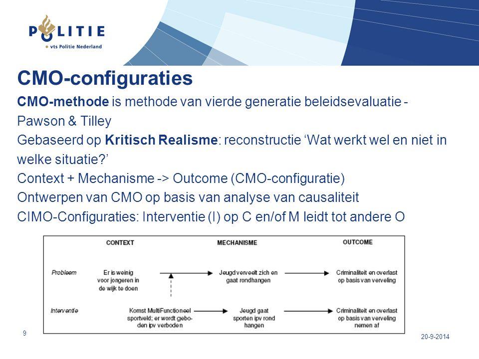 CMO-configuraties CMO-methode is methode van vierde generatie beleidsevaluatie - Pawson & Tilley Gebaseerd op Kritisch Realisme: reconstructie 'Wat werkt wel en niet in welke situatie ' Context + Mechanisme -> Outcome (CMO-configuratie) Ontwerpen van CMO op basis van analyse van causaliteit CIMO-Configuraties: Interventie (I) op C en/of M leidt tot andere O