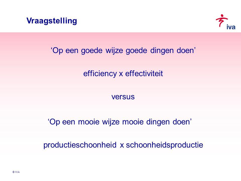 Vraagstelling 'Op een goede wijze goede dingen doen' efficiency x effectiviteit versus.