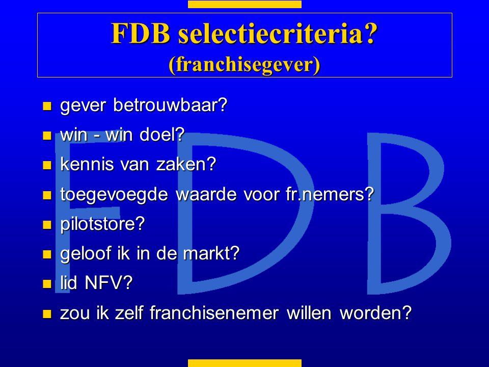 FDB selectiecriteria (franchisegever)