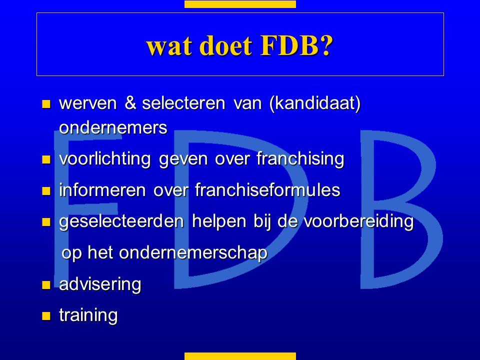 wat doet FDB werven & selecteren van (kandidaat) ondernemers