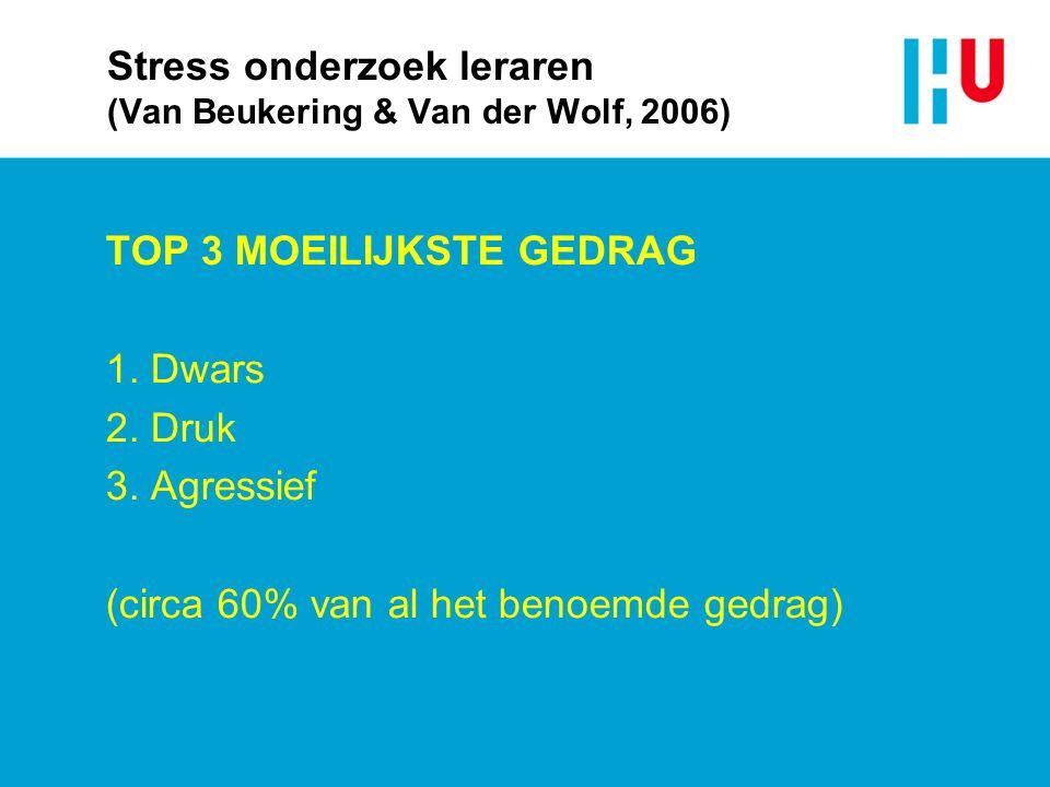 Stress onderzoek leraren (Van Beukering & Van der Wolf, 2006)