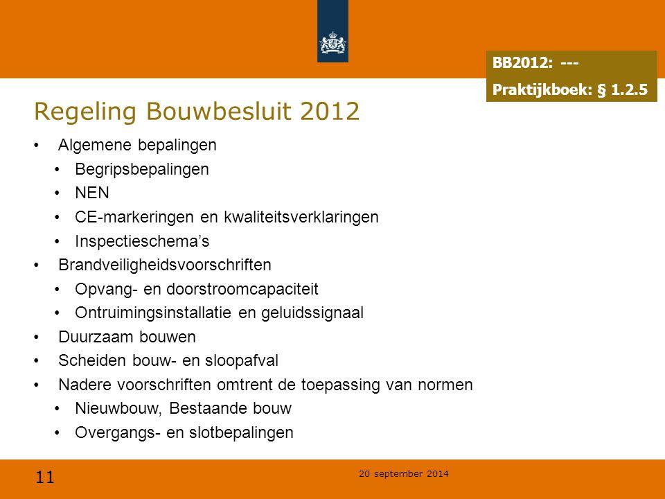 Regeling Bouwbesluit 2012 Algemene bepalingen Begripsbepalingen NEN