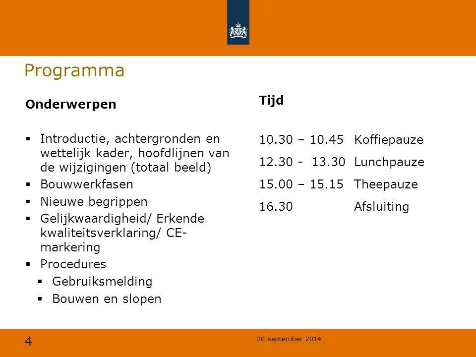 Programma Tijd 10.30 – 10.45 Koffiepauze 12.30 - 13.30 Lunchpauze 15.00 – 15.15 Theepauze 16.30 Afsluiting