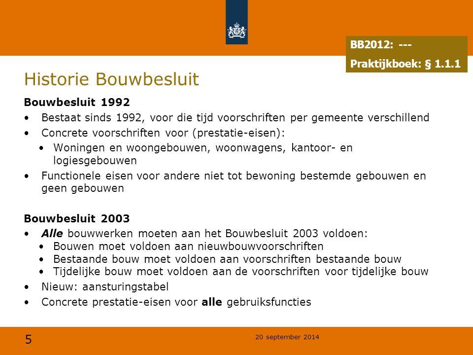 Historie Bouwbesluit BB2012: --- Praktijkboek: § 1.1.1