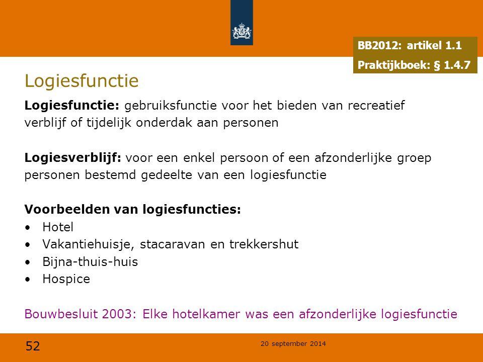 BB2012: artikel 1.1 Praktijkboek: § 1.4.7. Logiesfunctie. Logiesfunctie: gebruiksfunctie voor het bieden van recreatief.