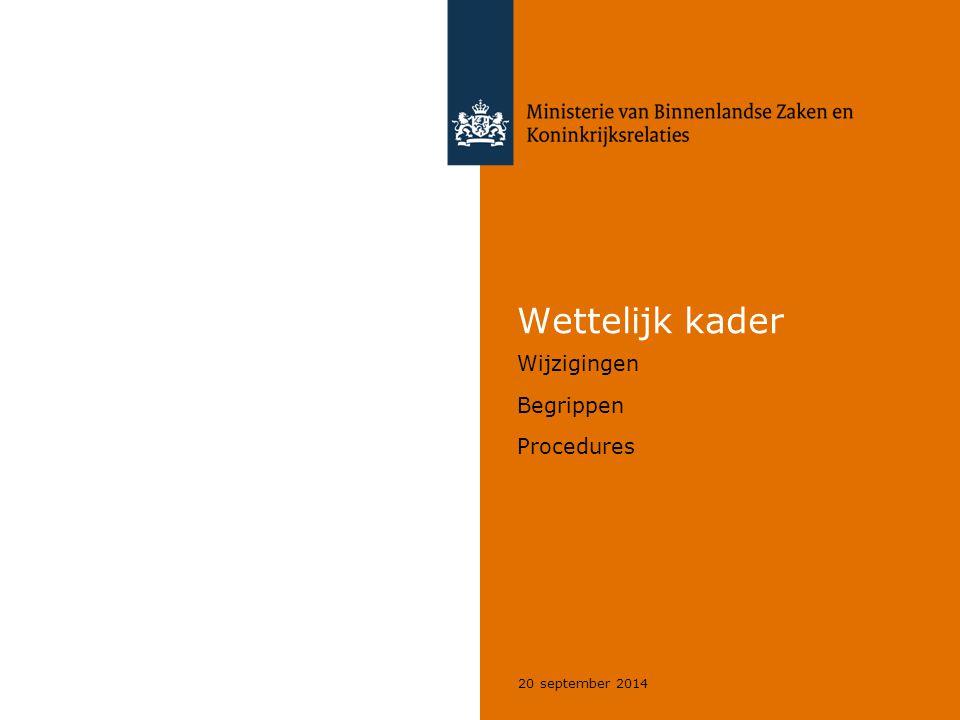 Wettelijk kader Wijzigingen Begrippen Procedures