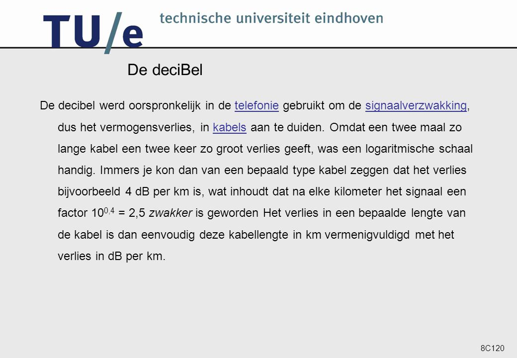 8C120 College 1b De deciBel.