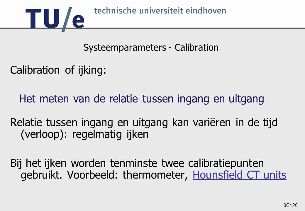 Systeemparameters - Calibration