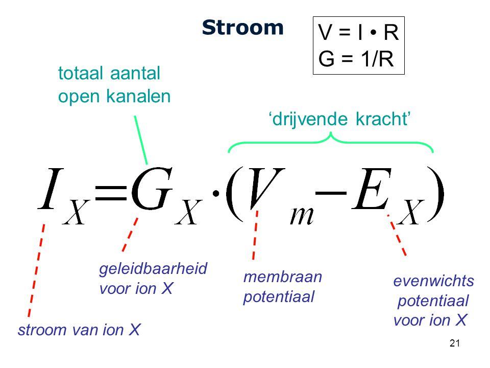 V = I • R G = 1/R Stroom totaal aantal open kanalen 'drijvende kracht'
