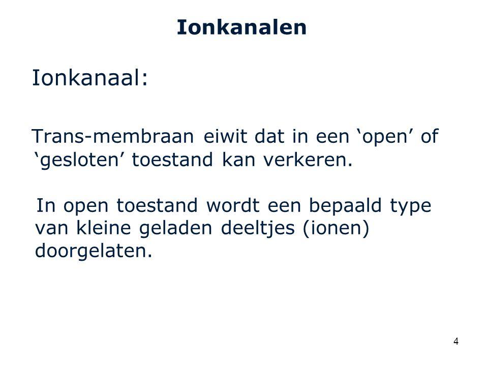 Ionkanalen Ionkanaal: Trans-membraan eiwit dat in een 'open' of 'gesloten' toestand kan verkeren.