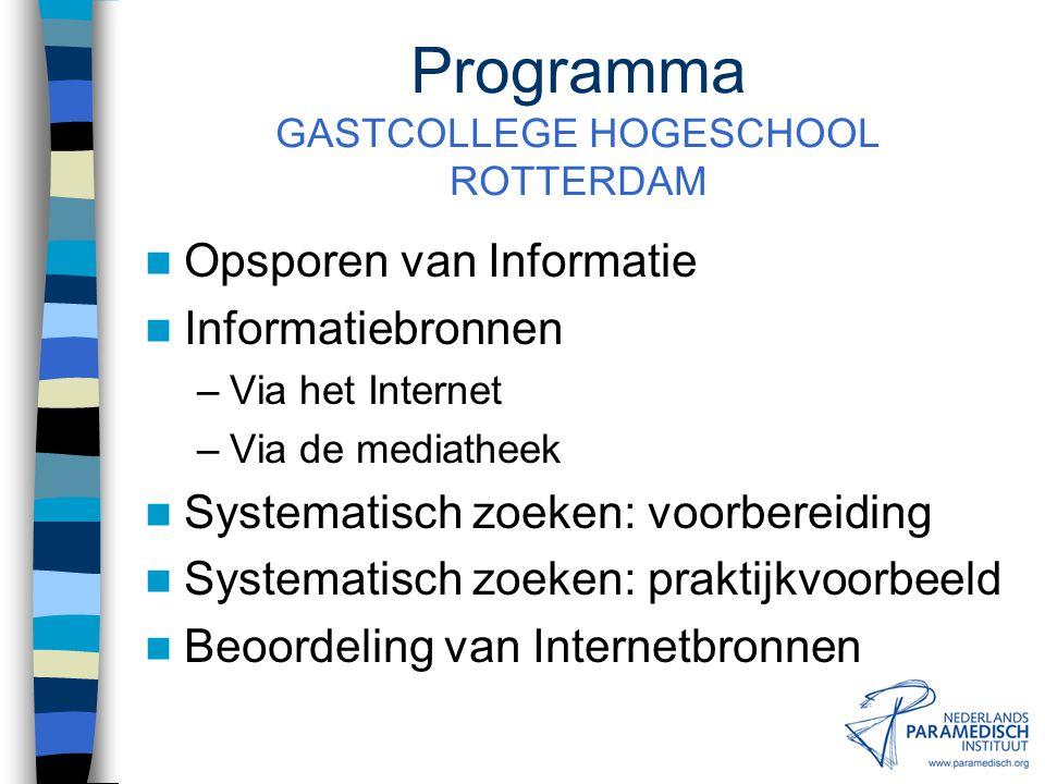 Programma GASTCOLLEGE HOGESCHOOL ROTTERDAM