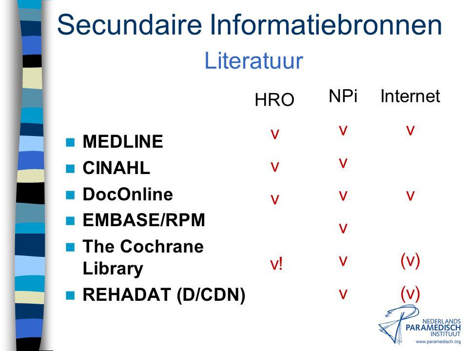 Secundaire Informatiebronnen Literatuur