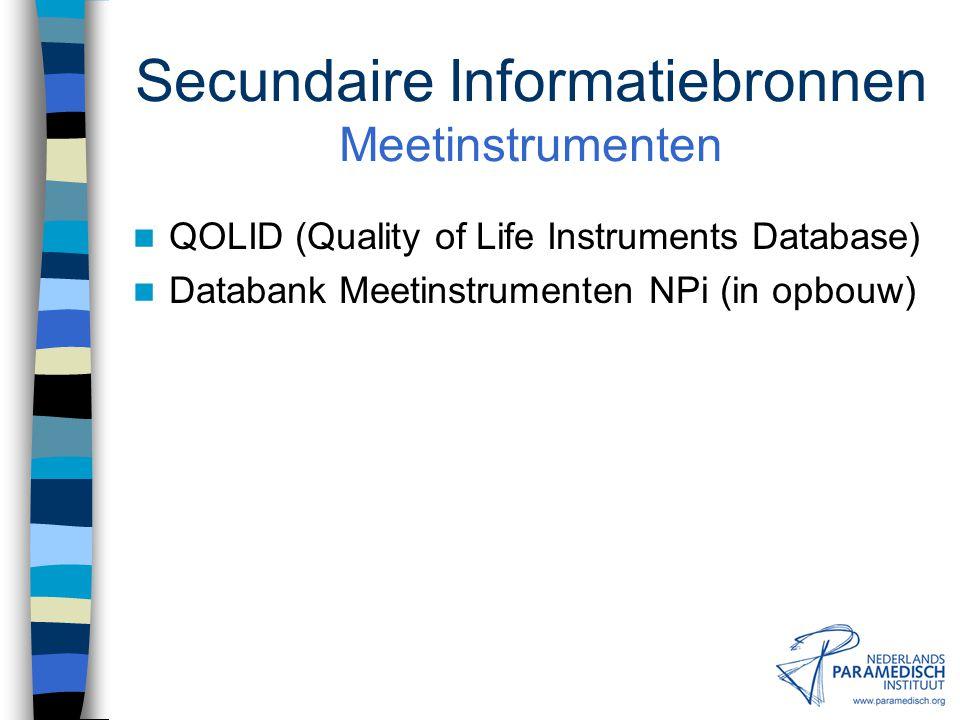Secundaire Informatiebronnen Meetinstrumenten