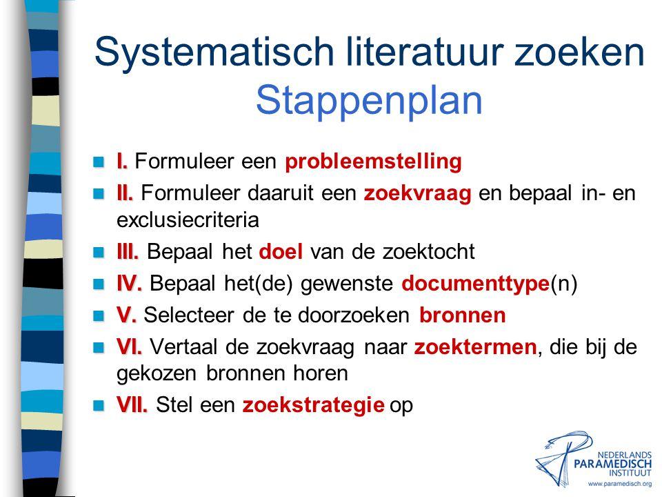 Systematisch literatuur zoeken Stappenplan