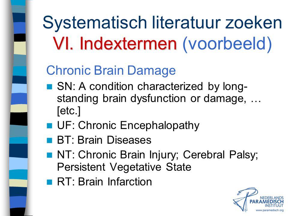 Systematisch literatuur zoeken VI. Indextermen (voorbeeld)