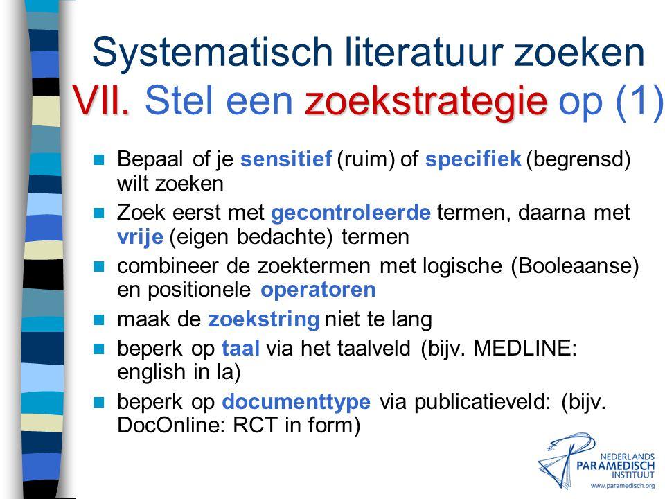 Systematisch literatuur zoeken VII. Stel een zoekstrategie op (1)