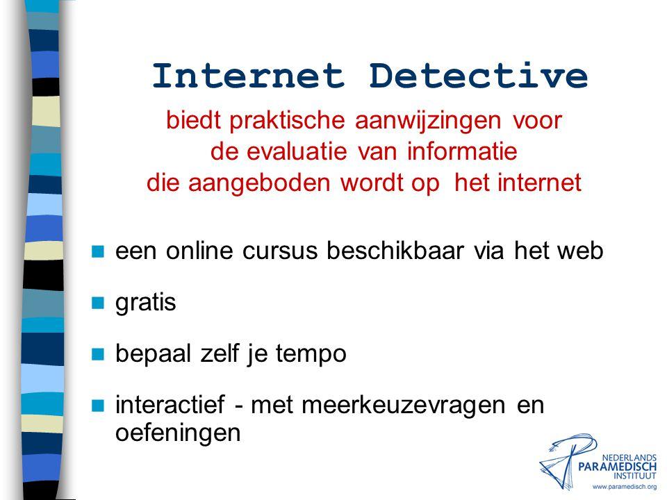 Internet Detective biedt praktische aanwijzingen voor