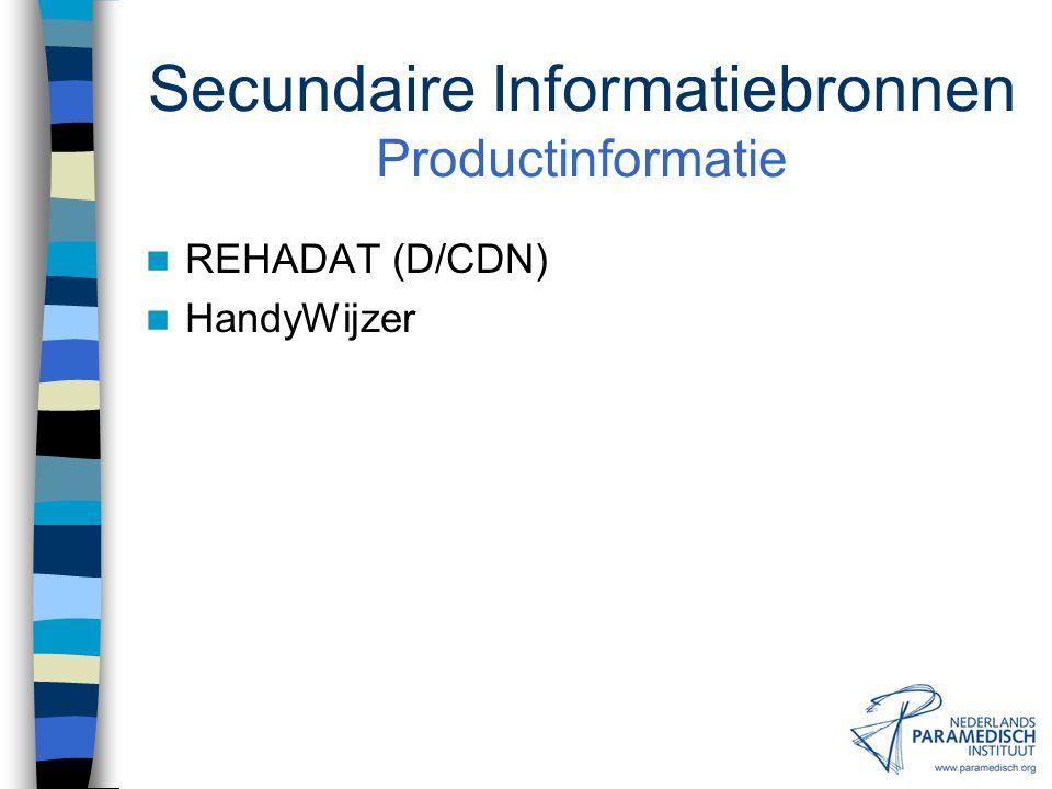 Secundaire Informatiebronnen Productinformatie